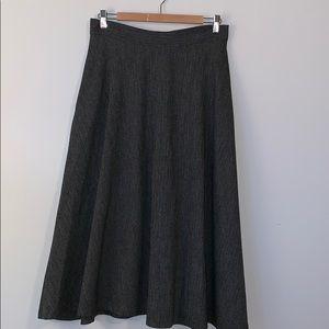 ZARA Charcoal Herringbone Midi Skirt with Pockets